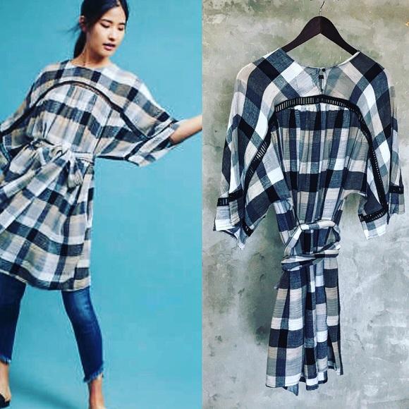 80e5cce4bbae Anthropologie Dresses | Plaid Tiewaist Kimono Tunic Dress | Poshmark